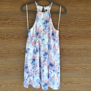 Floral Watercolor Dress | Racerback Open Back | S